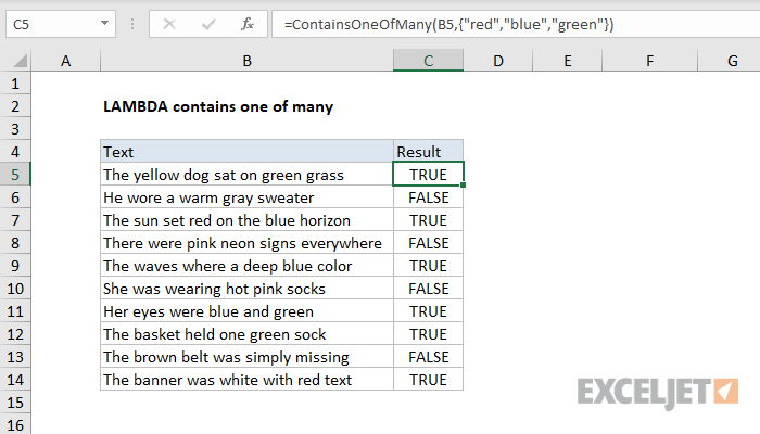 Excel formula: LAMBDA contains one of many