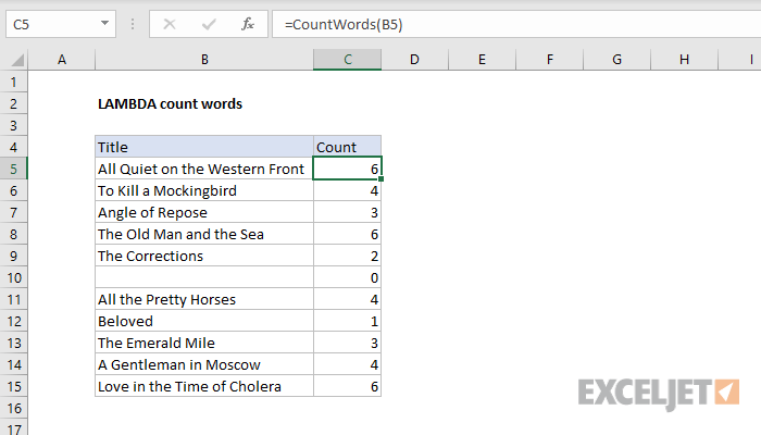 Excel formula: LAMBDA count words
