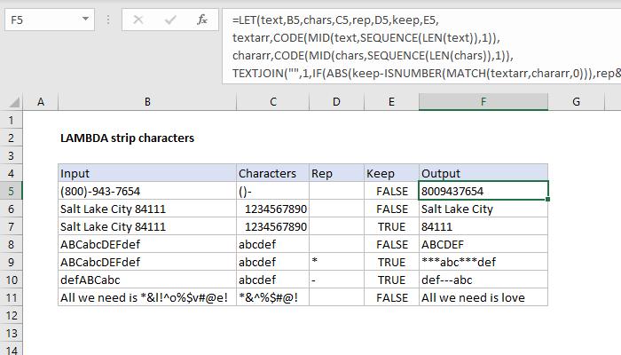 Excel formula: LAMBDA strip characters