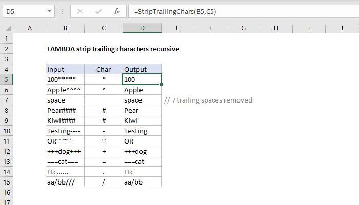 Excel formula: LAMBDA strip trailing characters recursive