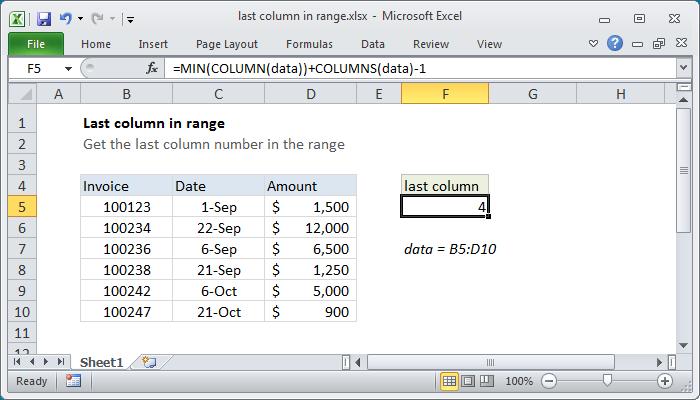 Excel formula: Last column number in range
