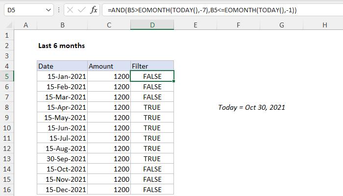 Excel formula: Last n months