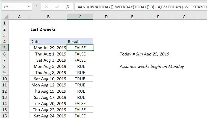 Excel formula: Last n weeks