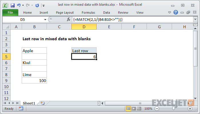 Excel formula: Last row in mixed data with blanks