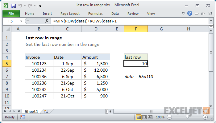 Excel formula: Last row number in range