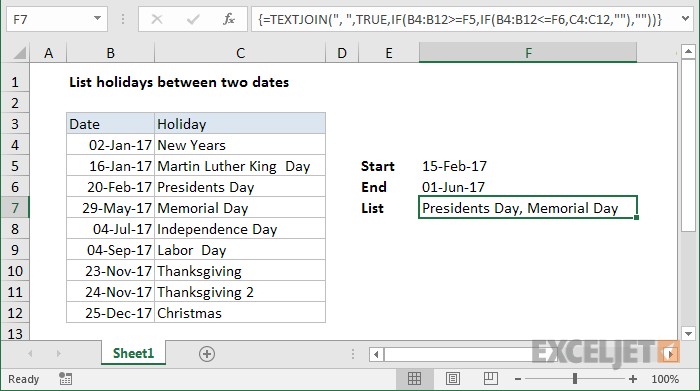 Excel formula: List holidays between two dates