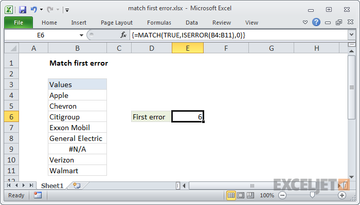 Excel formula: Match first error