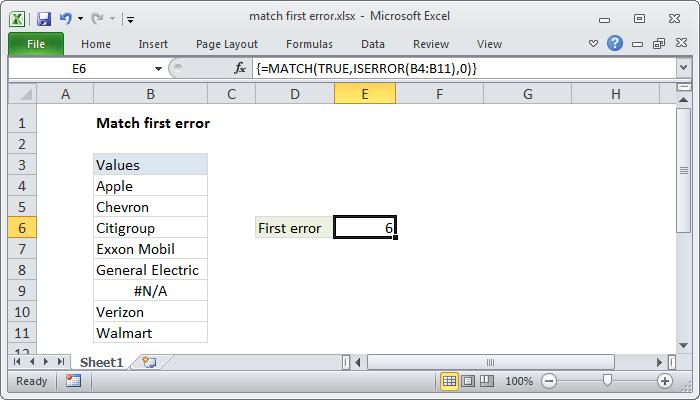 Excel formula: Match first error | Exceljet