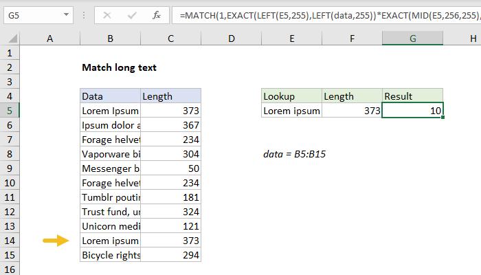 Excel formula: Match long text