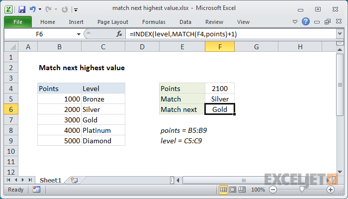 Excel formula: Match next highest value
