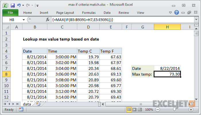 Excel Formula Max If Criteria Match Exceljet