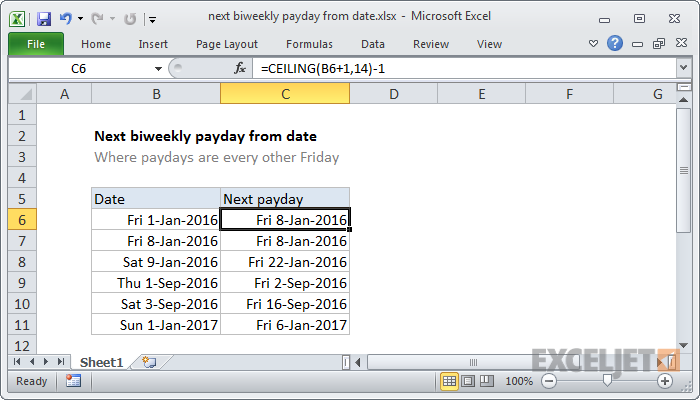 Excel Formula Next Biweekly Payday From Date Exceljet