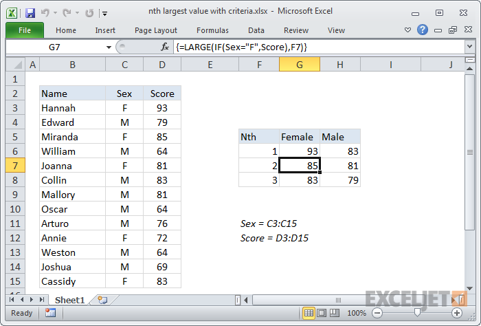 Excel formula: nth largest value with criteria
