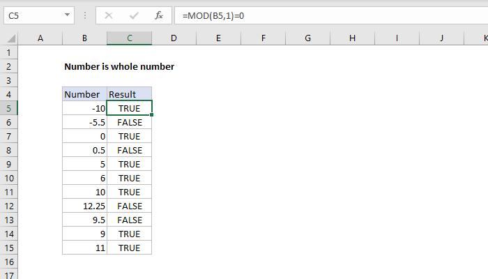 Excel formula: Number is whole number