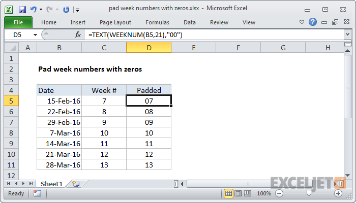 Excel Formula Pad A Number With Zeros Exceljet. Excel Formula Pad Week Numbers With Zeros. Worksheet. Vba Worksheetfunction Rept At Mspartners.co