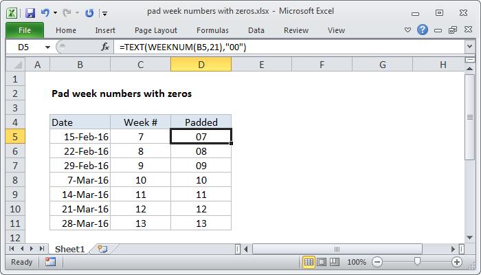 Excel formula: Pad week numbers with zeros