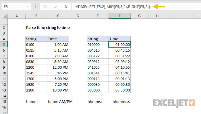 Excel formula: Parse time string to time