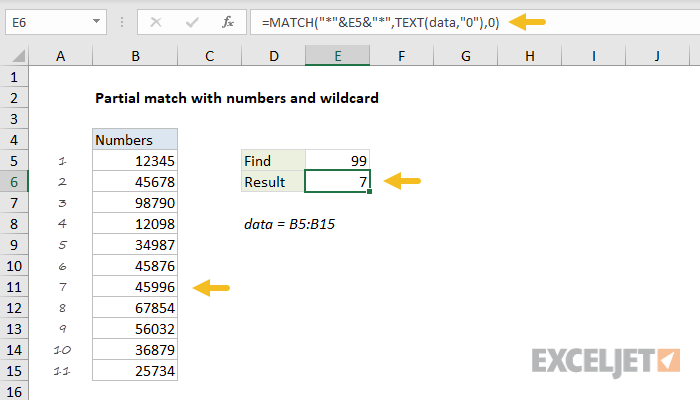 Excel formula: Partial match with numbers and wildcard