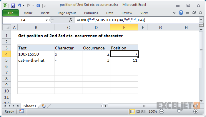 Excel formula: Position of 2nd 3rd etc instance of character