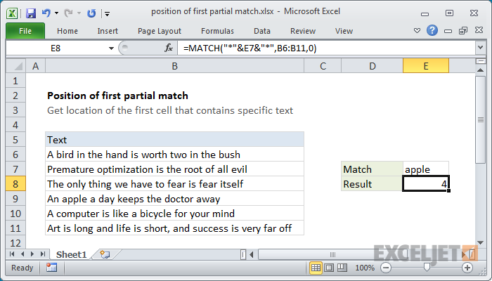 Excel formula: Position of first partial match