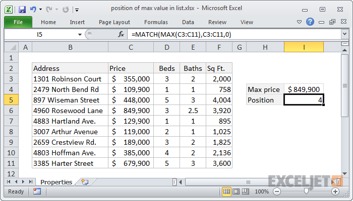 Excel formula: Position of max value in list