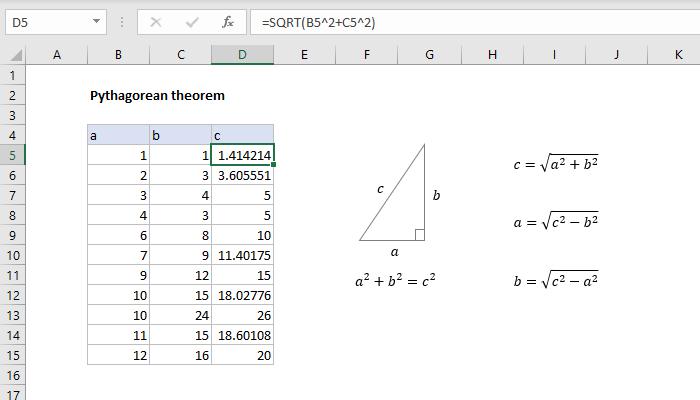 Excel formula: Pythagorean theorem
