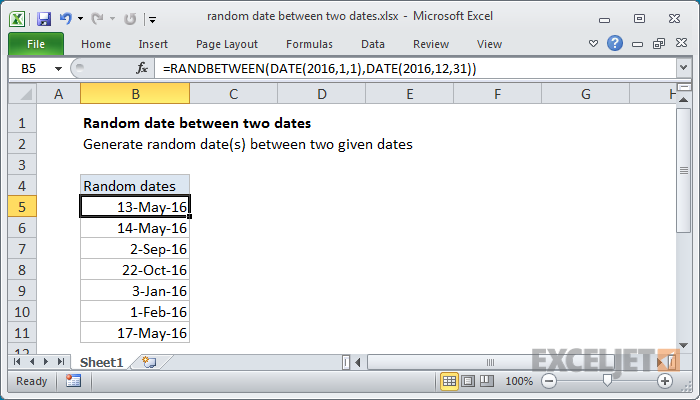 Excel formula: Random date between two dates | Exceljet