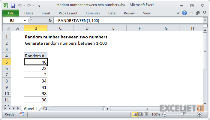 Excel formula: Random number between two numbers | Exceljet