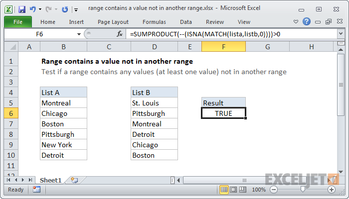 Excel formula: Range contains a value not in another range