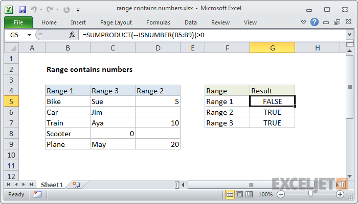 Excel formula: Range contains numbers