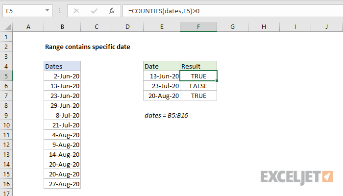 Excel formula: Range contains specific date