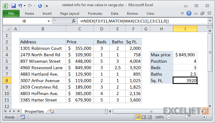 Excel formula: Get information corresponding to max value
