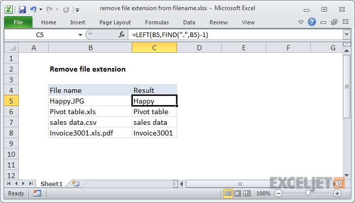 Excel formula: Remove file extension from filename | Exceljet