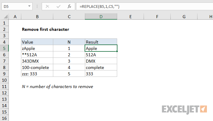 Excel formula: Remove first character