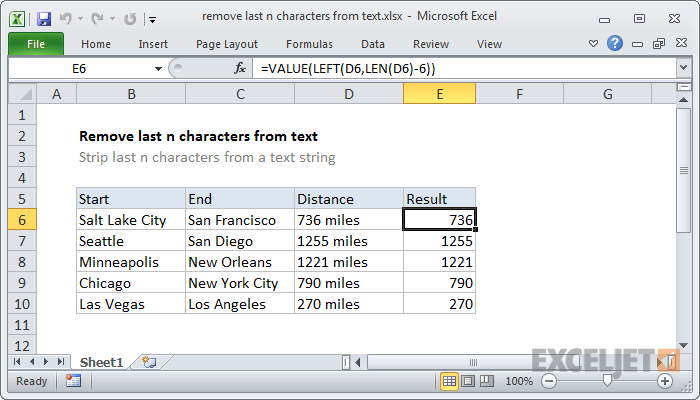 Excel formula: Remove characters from right