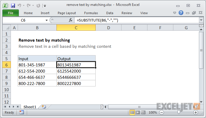 excel formula: remove text by matching | exceljet
