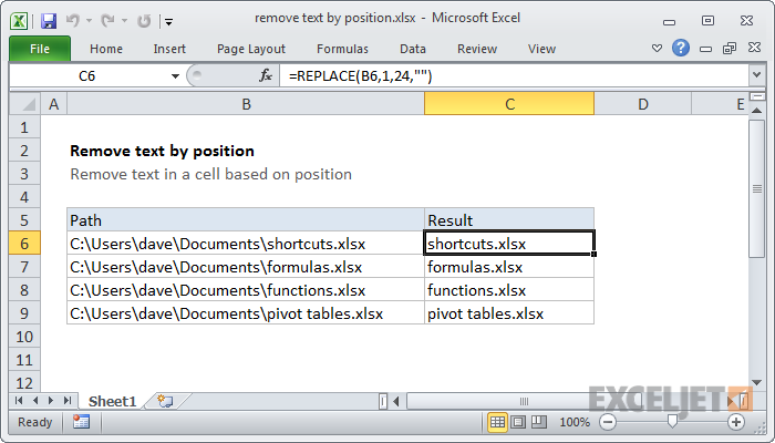 Excel formula: Remove text by position