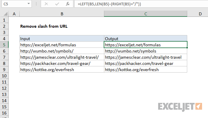 Excel formula: Remove trailing slash from url