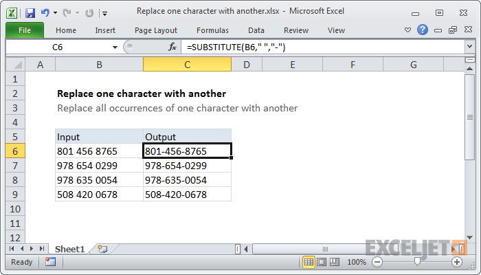 Excel formula: Replace one character with another