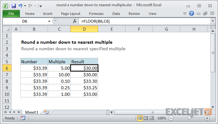 Excel formula: Round a number down to nearest multiple