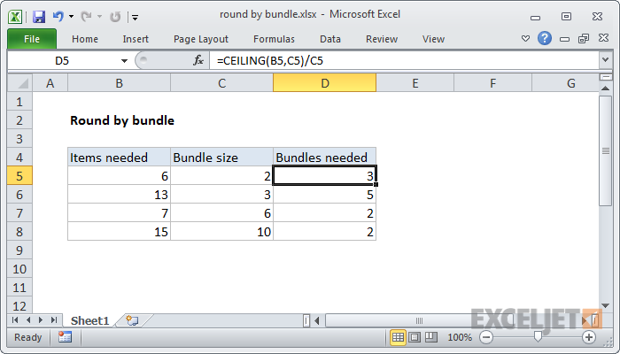 Excel formula: Round by bundle size   Exceljet