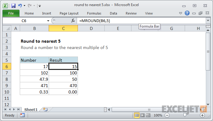 Excel formula: Round to nearest 5
