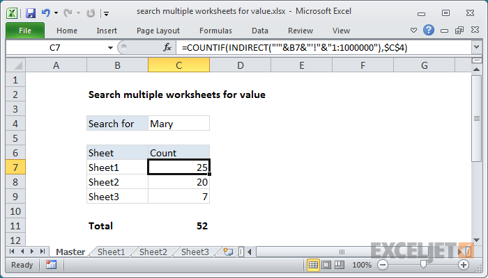 Excel Formula Search Multiple Worksheets For Value Exceljet