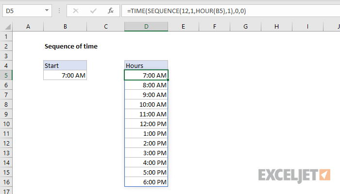 Excel formula: Sequence of times