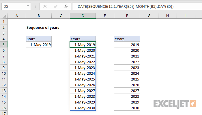 Excel formula: Sequence of years