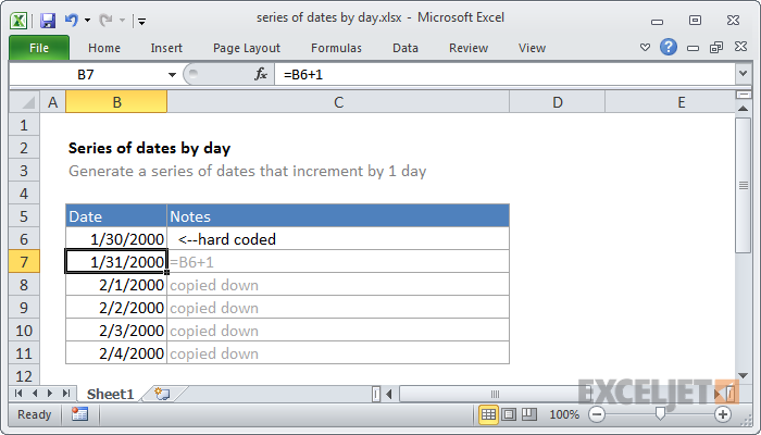 Excel formula: Series of dates by day