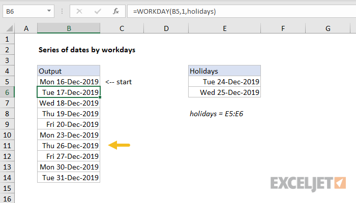 Excel formula: Series of dates by workdays