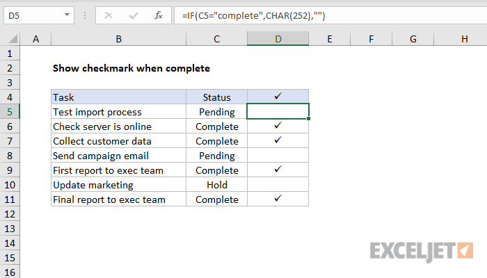 Excel formula: Show checkmark if complete