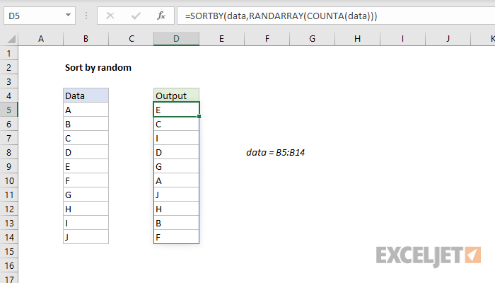 Excel formula: Sort by random