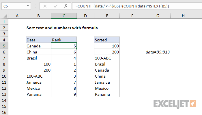 Excel formula: Sort text and numbers with formula